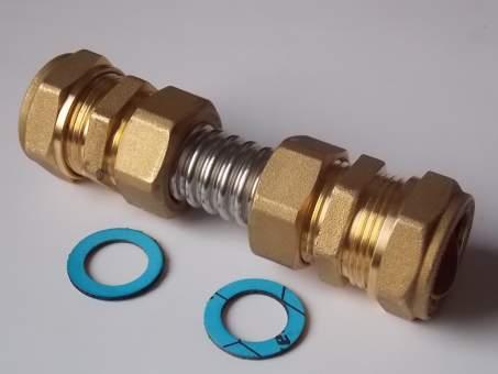 Kollektorverbinder aus DN16 mit 22 mm Kupferrohr-Anschlüsse
