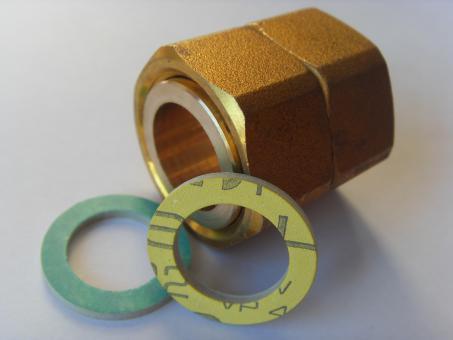 """Kupplung 3/4"""" IG flachdichtend mit Dichtungen bis 250°C, 280°C oder 300°C"""